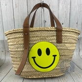 BRAND楓月 LOEWE SMILEY系列 黃色 微笑 笑臉 小牛皮 草編包 籐籃 手提包 中款