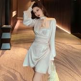 夜店洋裝名媛性感夜店女裝早秋新款氣質時尚鏤空收腰修身不規則長袖連身裙 交換禮物