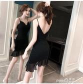 2020夏季新款夜場女裝氣質性感連衣裙禮服心機不規則吊帶小黑裙仙 (pinkq 時尚女裝)
