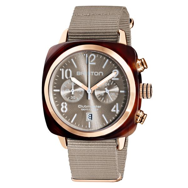 BRISTON CLUBMASTER 經典雙眼計時腕錶-奶茶色