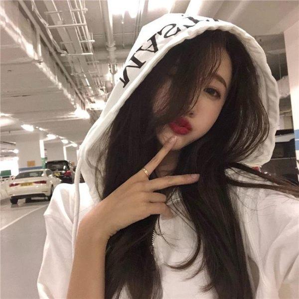 Princessxshop韓版新款chic中長款連帽短袖T恤原宿風寬鬆bf上衣DL809298正韓國連線外套