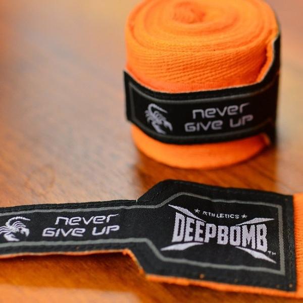 『VENUM旗艦館』DEEPBOMB原裝進口BOXING專業拳擊手綁帶 純棉 手綁帶 無彈性 橘黑色  4米