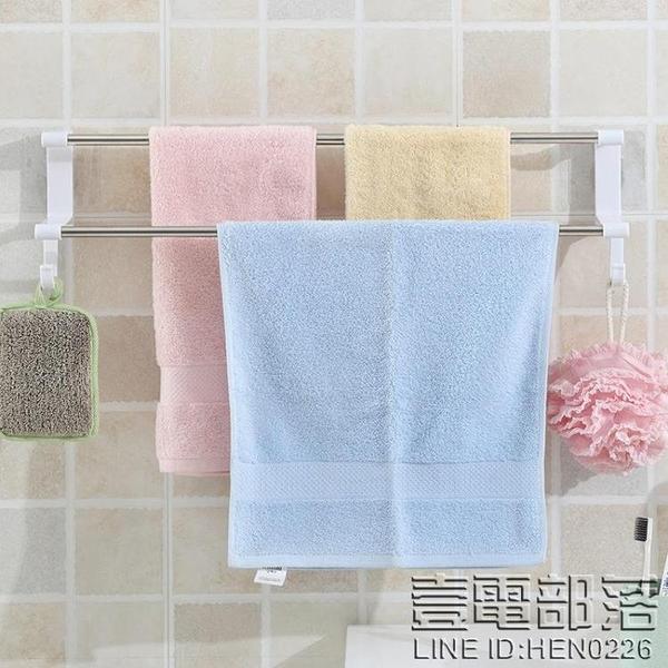 免打孔壁掛毛巾架衛生間手巾架吸盤式浴室廚房抹布架晾毛巾桿雙桿  快速出貨
