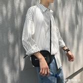 秋季chic正韓豎條紋寬鬆襯衫學生長袖港風白襯衣潮流