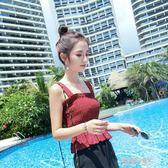 吊帶背心女外穿荷葉邊外搭韓版學生無袖性感壓褶木耳邊露肩上衣夏  凱斯盾數位3C