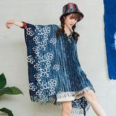 【潘克拉】拔染花紋披肩式長衫 TM1054 FREE藍色