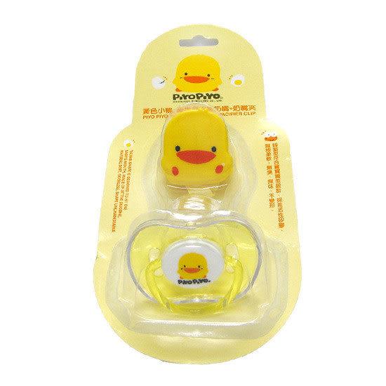 【奇買親子購物網】黃色小鴨拇指型安撫奶嘴+奶嘴夾