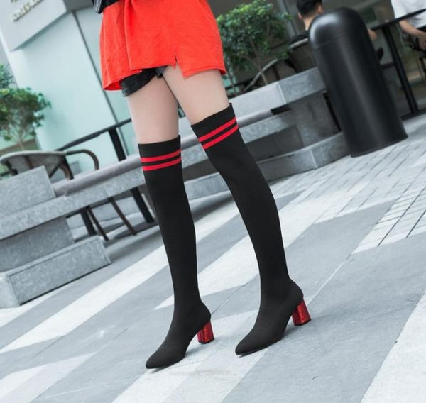 彈力布過膝長靴秋冬中高跟瘦腿長筒靴子粗跟顯瘦平底襪子女靴