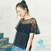 ❖ Summer ❖ 透膚蕾絲層次荷葉邊剪裁上衣 - earth music&ecology