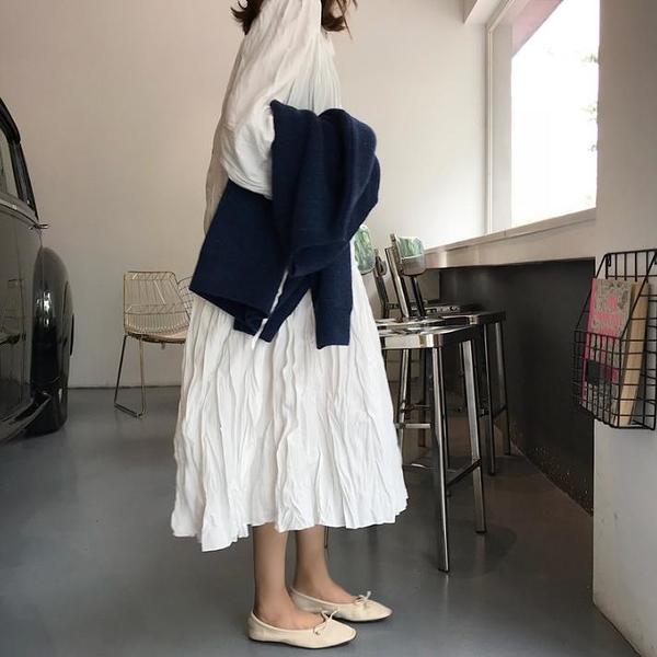 秋裝女裝領口系帶氣質V領長袖連衣裙復古顯瘦學生壓褶長裙1入