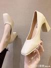 中跟鞋 粗跟單鞋女2021春季新款復古方頭漆皮小皮鞋仙女配裙子的高跟鞋子 618購物節