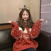 慵懶風網紅ins超火聖誕節新年復古紅色毛衣女寬鬆外套2020年新款 【聖誕節狂歡購】