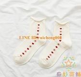 三雙裝甜美卷邊白色中筒襪可愛小花愛心韓國日系襪子女韓版【奇妙商舖】