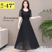 連身裙--優雅氣質顯瘦修身感微V領雪紡蕾絲拼接短袖長洋裝(黑L-3L)-D526眼圈熊中大尺碼◎