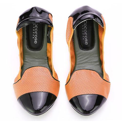 Cocorose 真皮摺疊樂福鞋 橘色黑色拼接