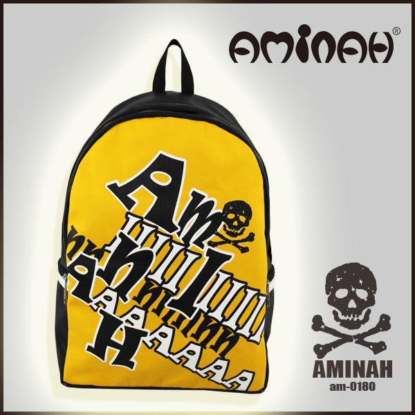 美式風格 骷髏頭 字母後背包 黃配黑 AMINAH~【am-0180】