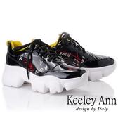 ★2019春夏★Keeley Ann輕運動潮流 字母膠片戰車底防滑休閒鞋(黑色) -Ann系列
