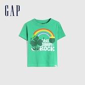 Gap男幼童 布萊納系列 純棉童趣圓領短袖T恤 681413-綠色