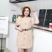 洋裝【1446】FEELNET中大尺碼女裝2018夏装短袖洋裝3XL-6XL碼