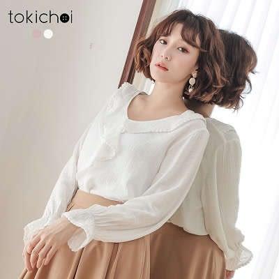 東京著衣-甜美荷葉邊V領花苞袖縮口上衣-S.M(181605)