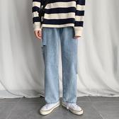 新款男褲子原宿風寬鬆韓版潮流直筒褲學生破洞牛仔褲(免運快出)