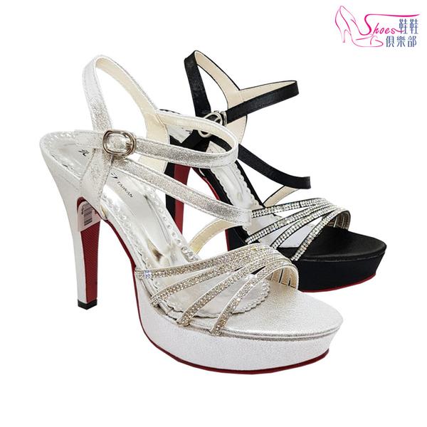 涼鞋.MIT女神閃亮貼鑽高跟涼鞋.黑/銀【鞋鞋俱樂部】【024-YT749】