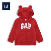 Gap男嬰兒活力亮色徽標熊耳連帽衫524131-摩登紅色