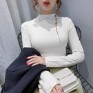 針織上衣 半高領打底衫秋冬女士長袖韓版時尚性感針織衫上衣DC12依佳衣