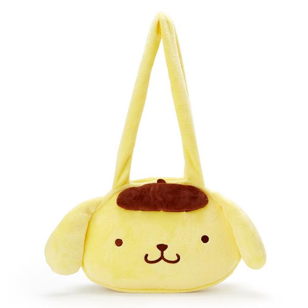 小禮堂 布丁狗 造型絨毛側背袋 大頭包 絨毛手提袋 側背包 (黃棕 大臉) 4550337-76044
