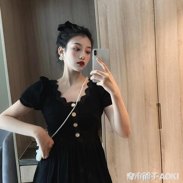 法式小眾復古黑色泡泡袖洋裝女夏季收腰顯瘦氣質小黑裙禮服長裙 青木鋪子