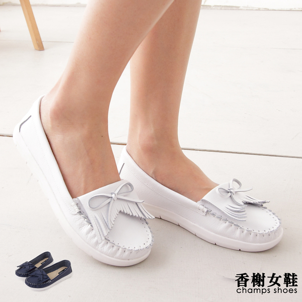 真皮鞋。蝴蝶結流蘇莫卡辛鞋 香榭