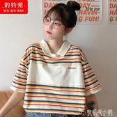 Polo衫短袖T恤女生夏裝新款初中高中學生韓版寬鬆學院風上衣 安妮塔小鋪