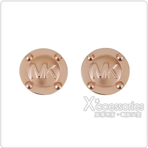 MK MICHAEL KORS 經典LOGO金屬穿式耳環(玫瑰金)