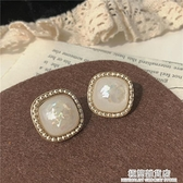 復古港風耳環~日系精致白貝殼碎片方形寶石耳釘女耳飾耳夾 極簡雜貨