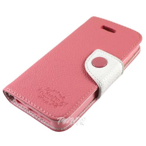 KooPin Apple iPhone 5 /5S 雙料縫線 側掀(立架式)皮套◆贈! 韓風閃亮亮晶鑽套 Apple iPhone 4 保護殼◆