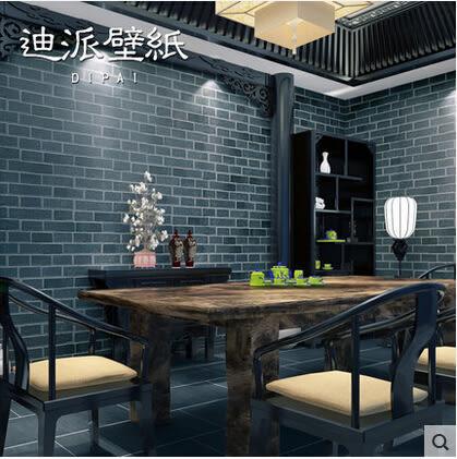 現代中式文化石壁紙青磚紅磚仿磚紋磚塊牆紙復古懷舊茶樓餐廳