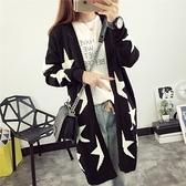 針織外套-寬鬆長版長袖五角星毛衣女罩衫73pp32[時尚巴黎]