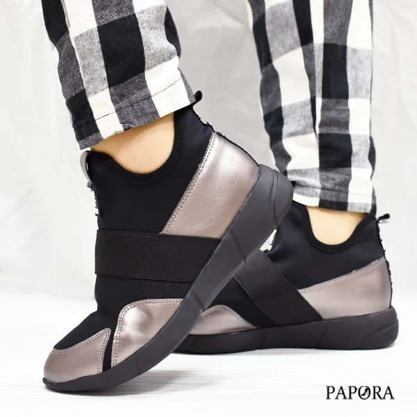 PAPORA內增高名媛休閒鞋K058黑/槍