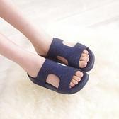 厚底女涼鞋 藍 夏季 女款真皮涼鞋【SV6989】快樂生活網