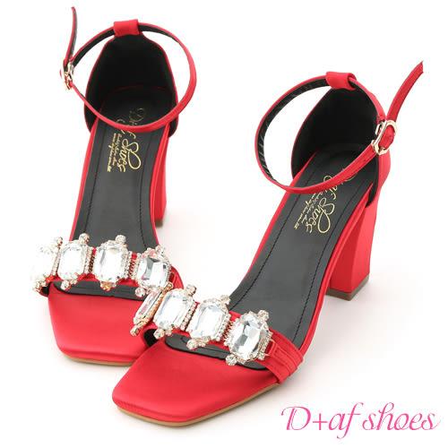 D+AF 奢鑽名媛.華麗寶石鑽飾高跟涼鞋*紅