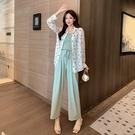 VK精品服飾 韓系優雅印花雪紡衫連身褲套裝長袖褲裝