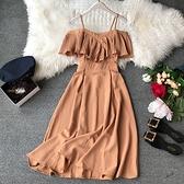 一字領洋裝 2020夏季韓版新款壓褶露肩一字領吊帶長款連衣裙