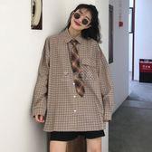 長袖襯衫 女裝韓版寬鬆百搭格子襯衣中長款長袖休閒顯瘦襯衫上衣 俏女孩