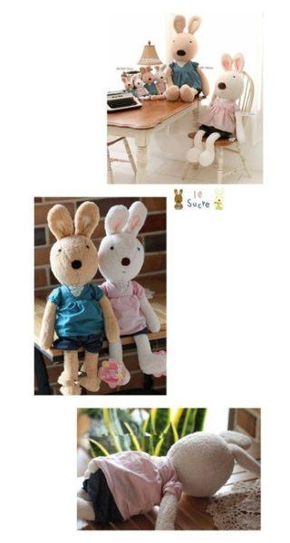 【發現。好貨】日本正品 le sucre 砂糖兔 法國兔娃娃(V領碎花30公分款)