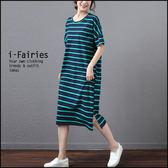 現貨+快速★中大尺碼短袖洋裝 連身裙★ifairies【43142】