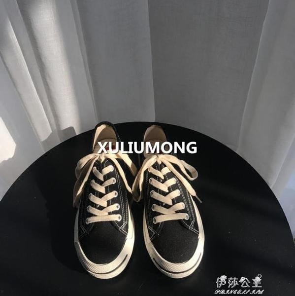 新款韓國街拍百搭復古做舊開口笑低筒帆布鞋休閒鞋板鞋女 伊莎公主