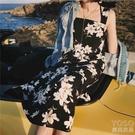 普吉島沙灘裙子新款海灘海邊度假韓國超仙吊帶雪紡連身 洛小仙女鞋