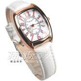 KEZZI珂紫 完美時尚 酒樽型 數字時刻 學生錶 高質感皮革 玫瑰金x白 KE1834白