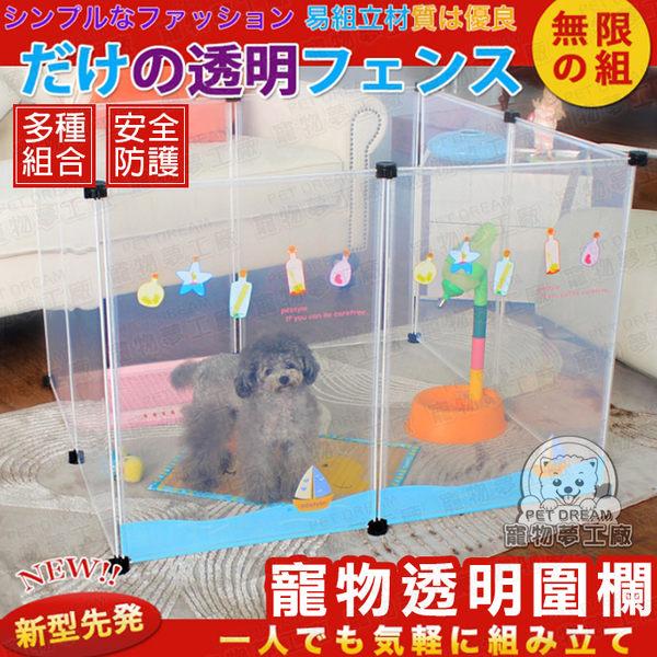 單片有圖案(含2卡扣) 透明狗圍欄 狗柵欄 寵物圍欄 寵物圍牆 寵物安全圍欄 圍籠 狗籠 防護 安全