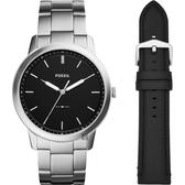 FOSSIL Minimalist 薄型簡約套錶-黑x銀/44mm FS5451SET